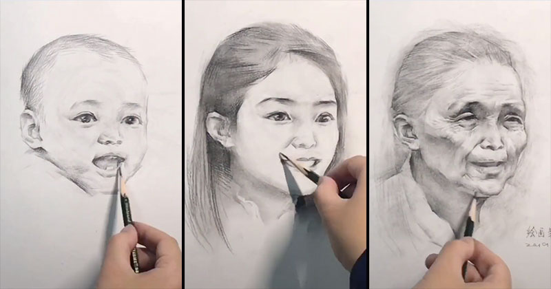 See People Age Before Your Eyes in These Incredible Timelapse Drawings