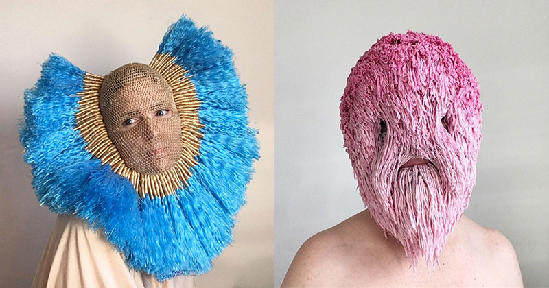 Artist Crochets Balaclavas, Then Turns Them Into Wild Masks With Yarn