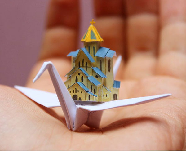 paper crane decorations by cristian marianciuc 1 Paper Artist Folds Cranes and Then Gives Them Intricate Decorations