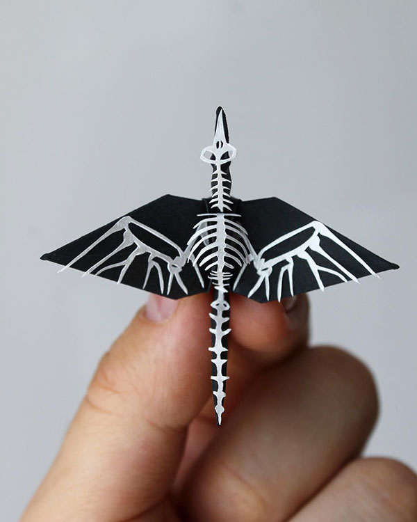 paper crane decorations by cristian marianciuc 11 Paper Artist Folds Cranes and Then Gives Them Intricate Decorations