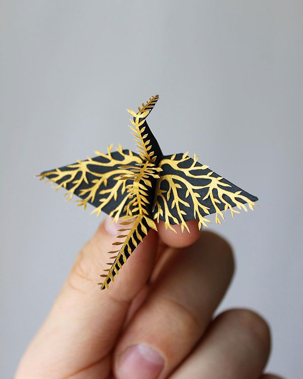 paper crane decorations by cristian marianciuc 12 Paper Artist Folds Cranes and Then Gives Them Intricate Decorations