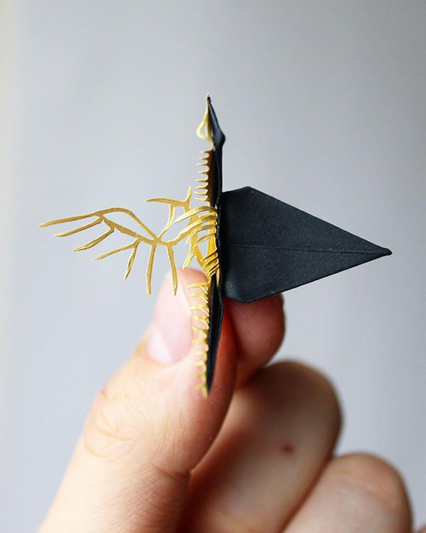 paper crane decorations by cristian marianciuc 13 Paper Artist Folds Cranes and Then Gives Them Intricate Decorations
