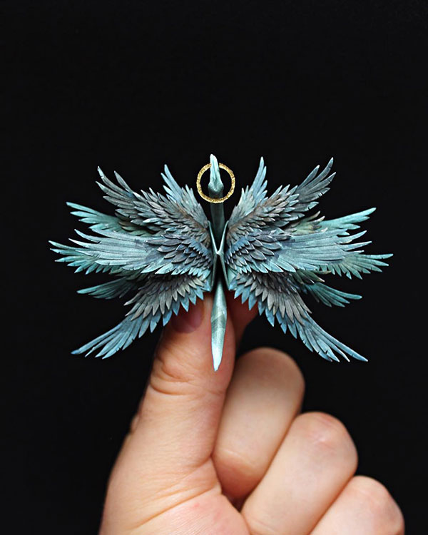 paper crane decorations by cristian marianciuc 16 Paper Artist Folds Cranes and Then Gives Them Intricate Decorations