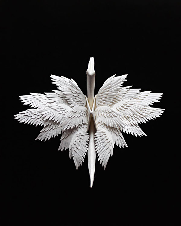 paper crane decorations by cristian marianciuc 18 Paper Artist Folds Cranes and Then Gives Them Intricate Decorations