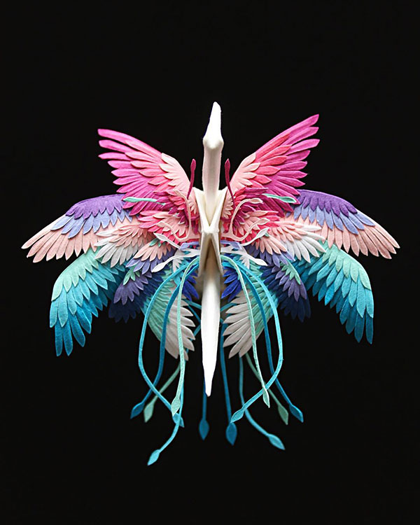 paper crane decorations by cristian marianciuc 19 Paper Artist Folds Cranes and Then Gives Them Intricate Decorations