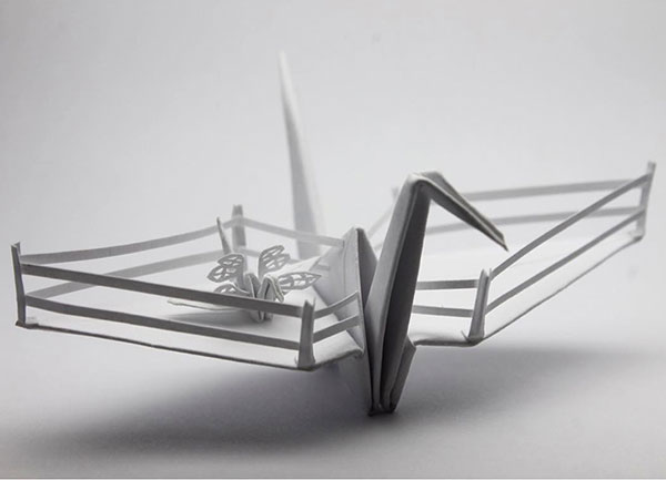paper crane decorations by cristian marianciuc 2 Paper Artist Folds Cranes and Then Gives Them Intricate Decorations