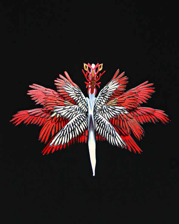 paper crane decorations by cristian marianciuc 21 Paper Artist Folds Cranes and Then Gives Them Intricate Decorations