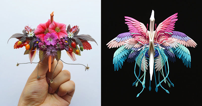 Paper Artist Folds Cranes and Then Gives Them Intricate Decorations