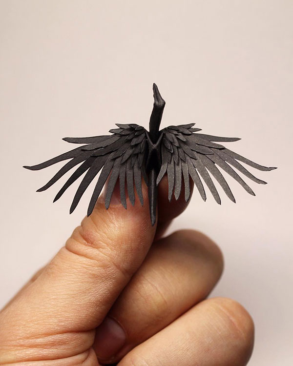 paper crane decorations by cristian marianciuc 7 Paper Artist Folds Cranes and Then Gives Them Intricate Decorations