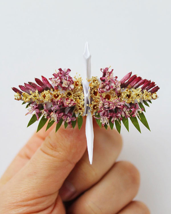 paper crane decorations by cristian marianciuc 8 Paper Artist Folds Cranes and Then Gives Them Intricate Decorations