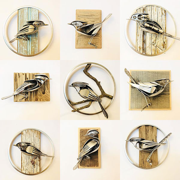 utensil birds by matt wilson airtight artwork12 Matt Wilson Upcycles Old Utensils Into Beautiful Birds (23 Photos)