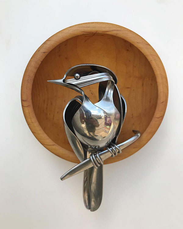 utensil birds by matt wilson airtight artwork18 Matt Wilson Upcycles Old Utensils Into Beautiful Birds (23 Photos)