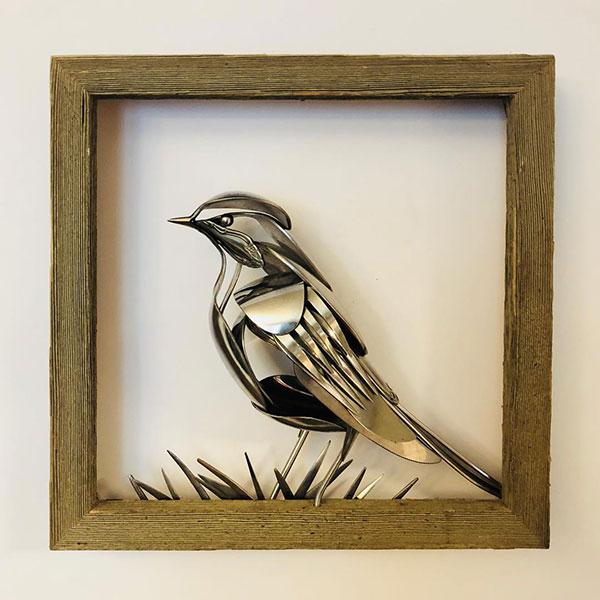 utensil birds by matt wilson airtight artwork19 Matt Wilson Upcycles Old Utensils Into Beautiful Birds (23 Photos)