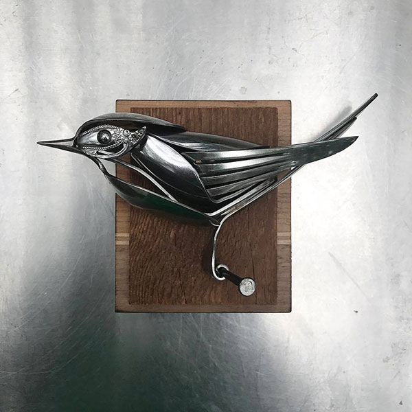 utensil birds by matt wilson airtight artwork9 Matt Wilson Upcycles Old Utensils Into Beautiful Birds (23 Photos)