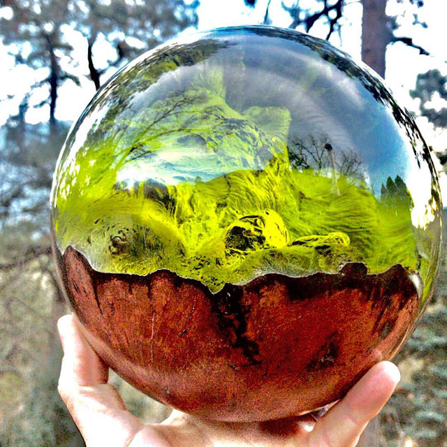 burl and resin sculptures by scott huebner 18 Beautiful Geometric Sculptures Cast From Burls Fused to Resin