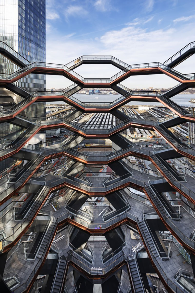endless staircase in new york hudson yards vessel heatherwick 1 New Yorks Touristy New Public Space is a Giant Endless Staircase