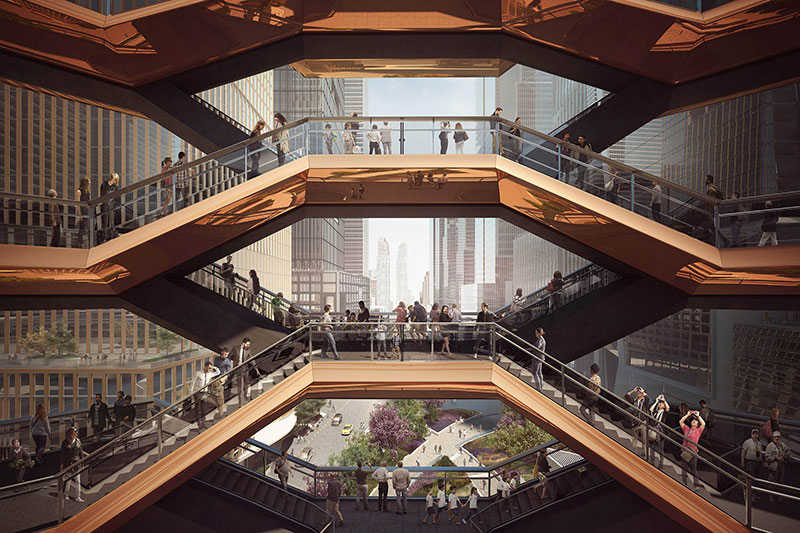 endless staircase in new york hudson yards vessel heatherwick 10 New Yorks Touristy New Public Space is a Giant Endless Staircase