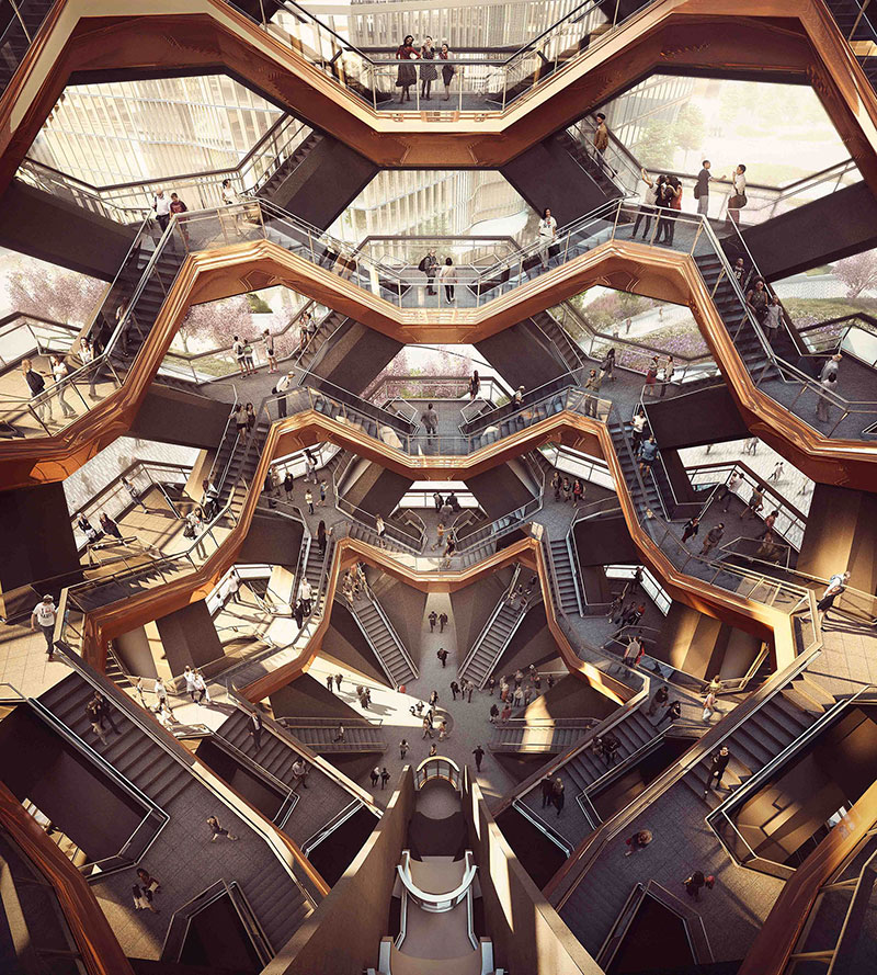 endless staircase in new york hudson yards vessel heatherwick 11 New Yorks Touristy New Public Space is a Giant Endless Staircase