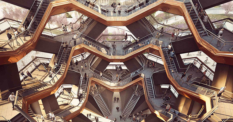 endless staircase in new york hudson yards vessel heatherwick 17 New Yorks Touristy New Public Space is a Giant Endless Staircase
