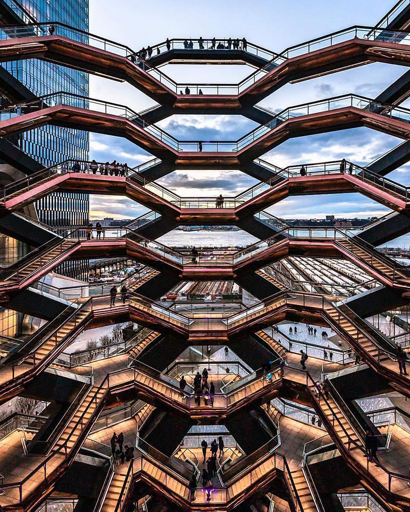 endless staircase in new york hudson yards vessel heatherwick 7 New Yorks Touristy New Public Space is a Giant Endless Staircase