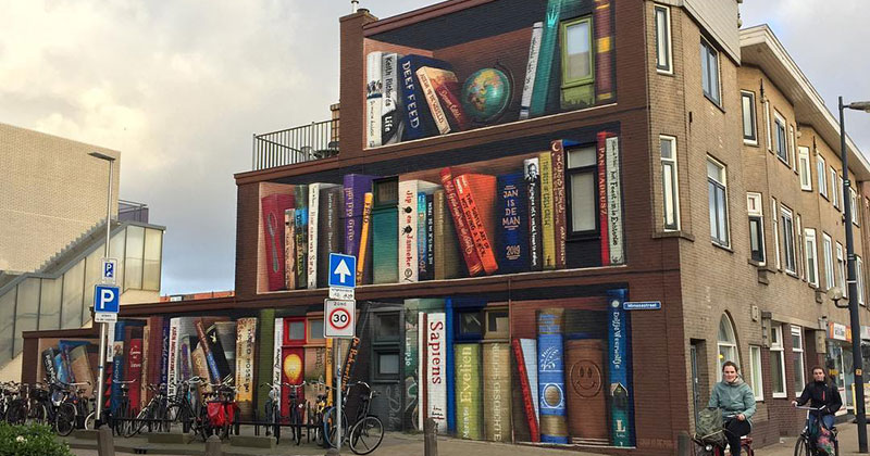 Dutch Artists Paint Giant 3D Bookshelf of Neighborhood's FavoriteBooks