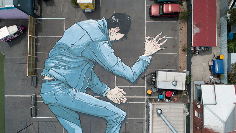 giant murals by kitt bennett1 Imagine Working in a High Rise and Seeing These On the Ground