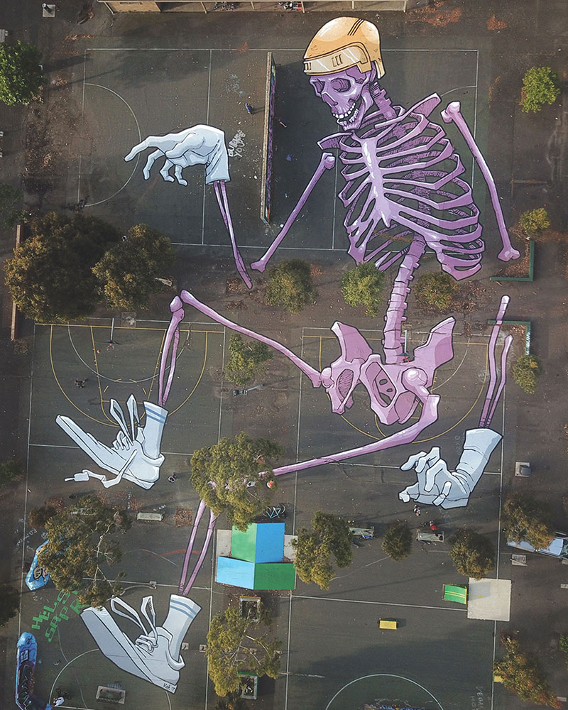 giant murals by kitt bennett5 Imagine Working in a High Rise and Seeing These On the Ground