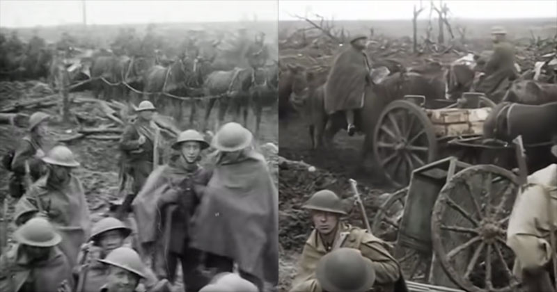 """The First Color Transition Scene in Peter Jackson's """"They Shall Not GrowOld"""""""