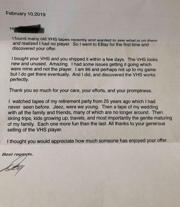 vhs ebay letter reddit This Guy Sold a VHS Player on eBay and Then Got a Very Unexpected Letter