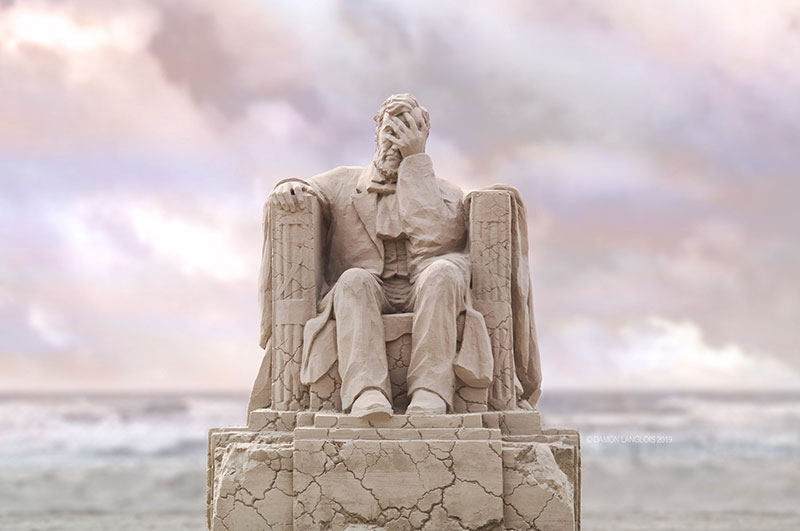 liberty crumbling by damon langlois 2 The Winning Sand Sculpture of the 2019 Texas Sand Sculpture Festival