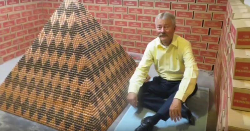 Guy Sets New Penny Pyramid World Record, Guess How Many There Are
