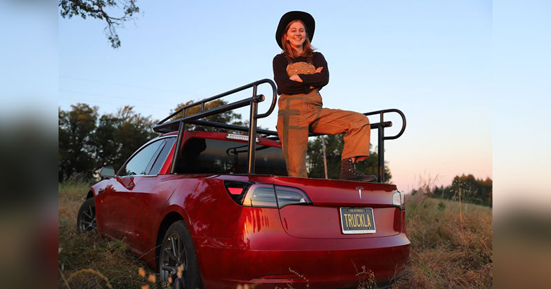 The 'Queen of Sh*tty Robots' Just DIY'd Her Tesla Into a Pickup Truck