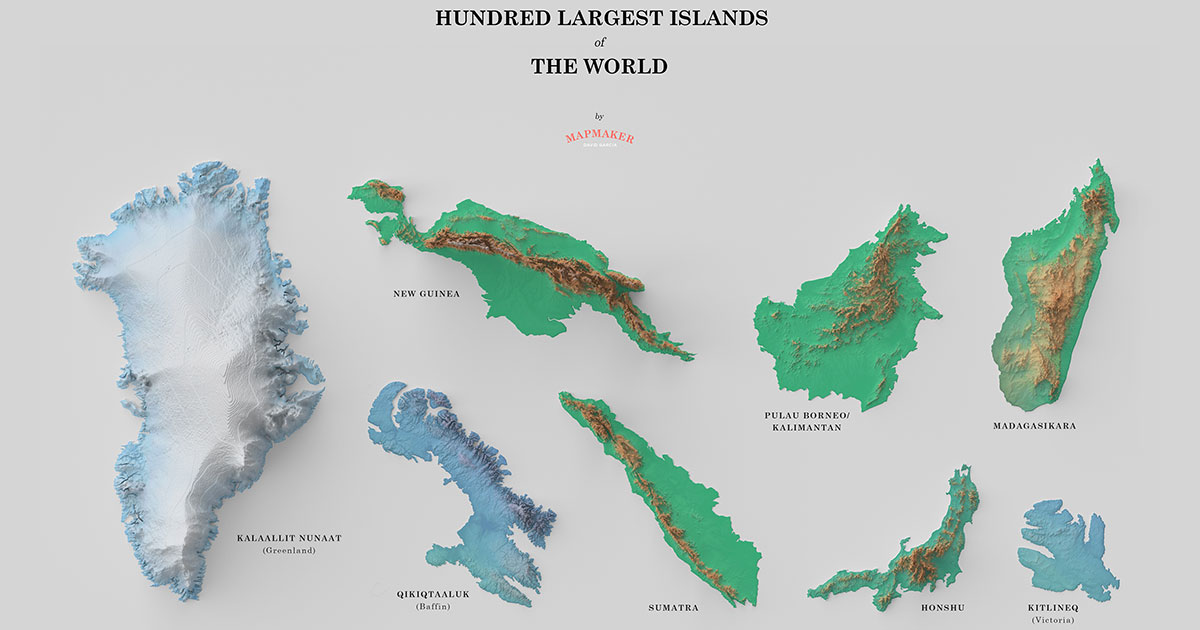 A Fascinating Poster of the 100 Largest Islands in the World