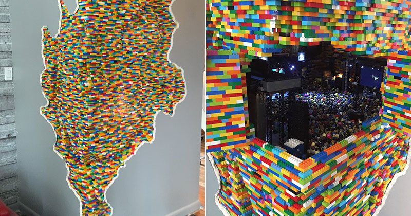 lego sculpture opens up into a mini music festival by dante dentoni 5 This Awesome Lego Sculpture Opens Up Into a Mini Music Festival