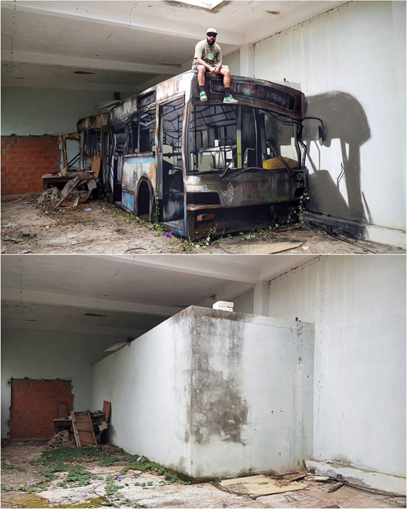 street artist odeith turns block wall into bus 1 Street Artist Transforms Old Block Wall Into Something Far More Creative