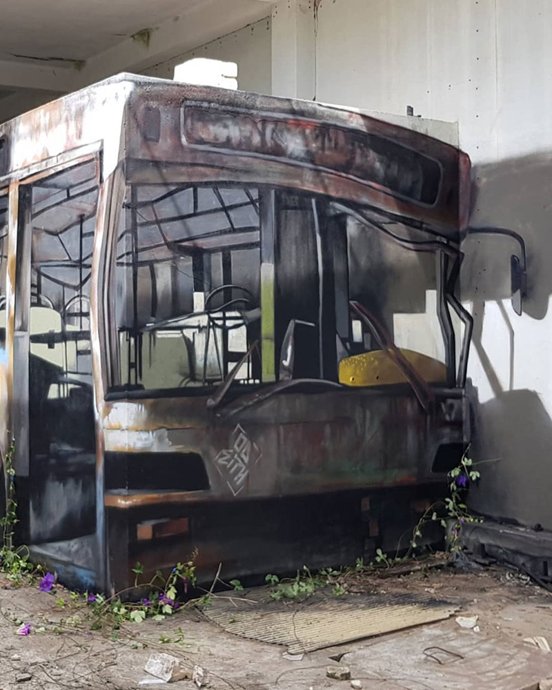 street artist odeith turns block wall into bus 3 Street Artist Transforms Old Block Wall Into Something Far More Creative
