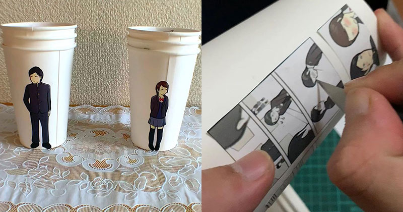 Artist Finds Creative Way to Use Paper Cups To Tell a LoveStory