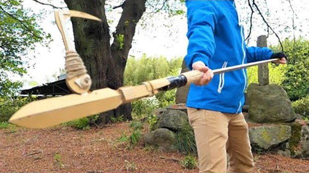 guy makes toy weapons from old amazon boxes 4 Guy Makes Oversized Novelty Weapons from Old Amazon Boxes