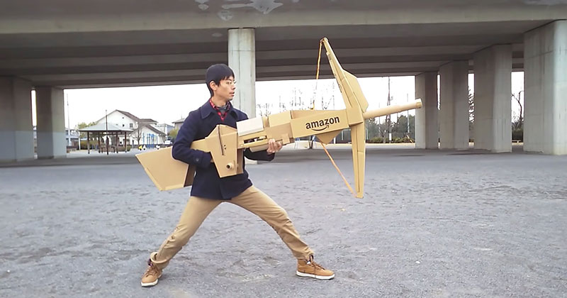 Guy Makes Oversized Novelty Weapons from Old Amazon Boxes