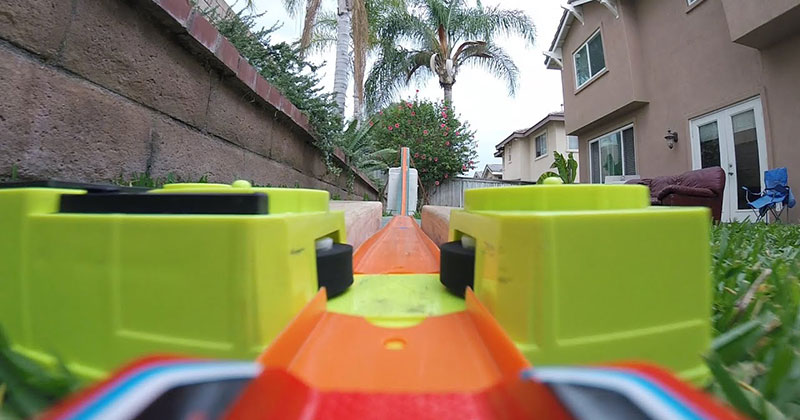 This Backyard Hot Wheels Course Has Turbo Boosters and It's Amazing