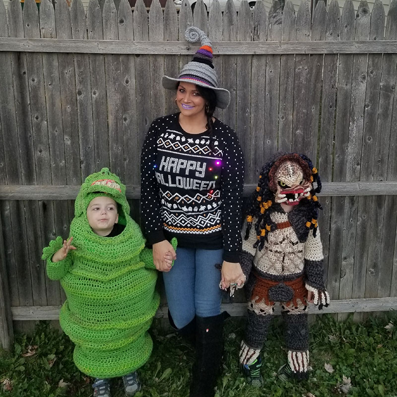 crochet halloween costume by stephanie pokorny crochetverse 1 Every Halloween This Mom Crochets the Coolest Costumes for Her Kids