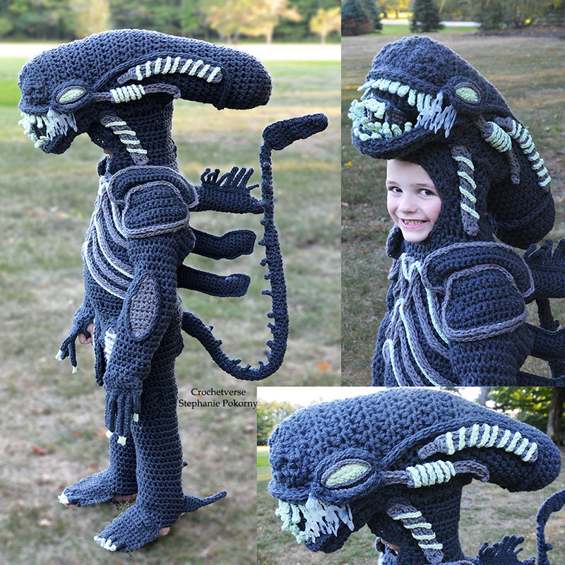 crochet halloween costume by stephanie pokorny crochetverse 3 Every Halloween This Mom Crochets the Coolest Costumes for Her Kids
