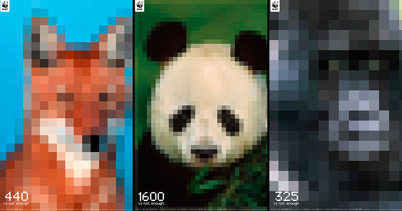 Populations of Endangered Species Depicted by the Number of Pixels
