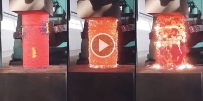 This is What Compressing Metal With a Hydraulic Press Looks Like