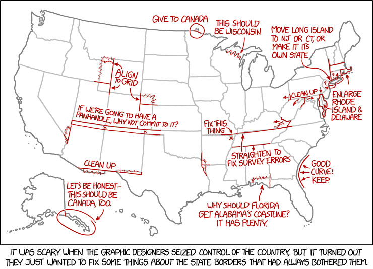 state borders 10 Great Infographics by XKCDs Randall Munroe