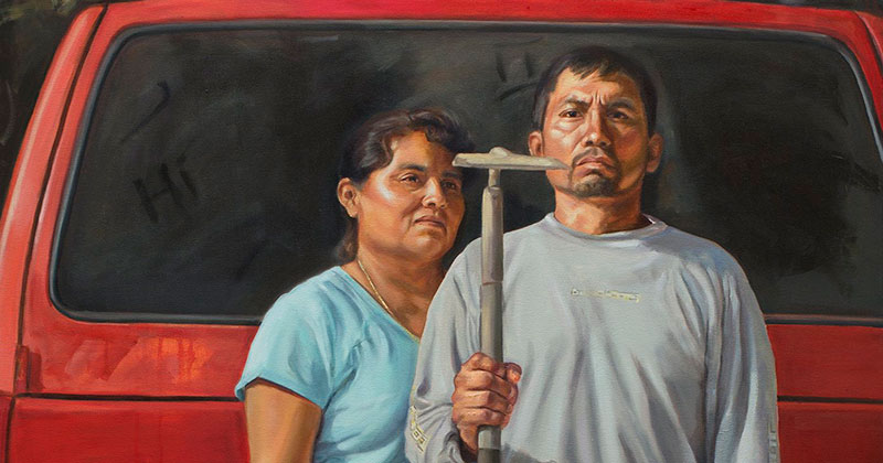 """The New American Gothic"" by Criselda Vasquez (Oil on Canvas 72″ x 48″)"