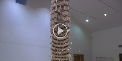 Toppling a Giant Domino Tower 2 StoriesHigh
