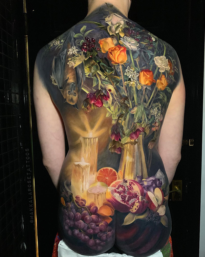 full back piece by makkala rose tattoo still life 1 This Full Back Piece by Makkala Rose is a Masterpiece