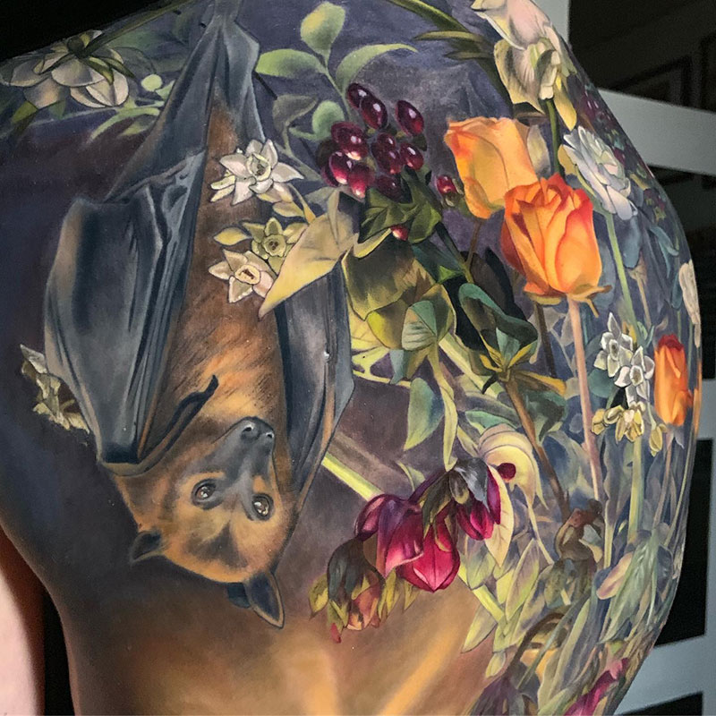 full back piece by makkala rose tattoo still life 2 This Full Back Piece by Makkala Rose is a Masterpiece
