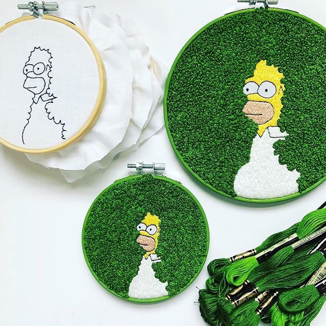 homer simpson bush embroidery 1 This Homer Simpson Embroidery is Perfect
